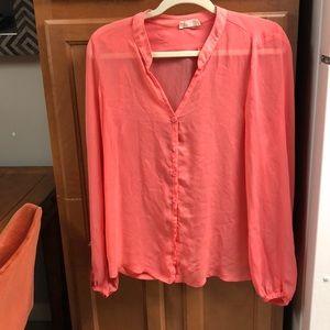 Pink sheer long sleeve top